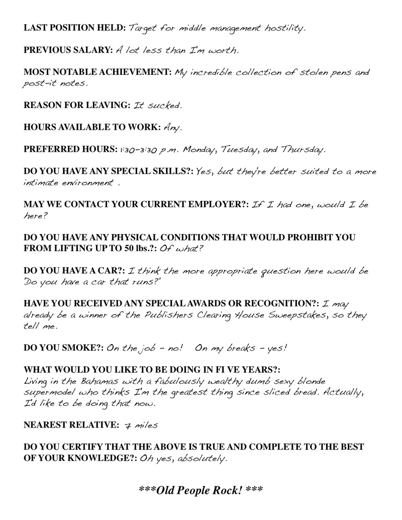 funny job application answers